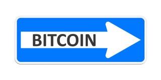 Niemiec jeden sposobu znak z słowa bitcoin Zdjęcia Royalty Free