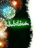 Niemiec Jubiläum fajerwerku jubileuszowa rocznicowa zieleń Obrazy Royalty Free