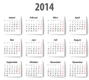 Niemiec kalendarz dla 2014 z cieniami. Poniedziałki najpierw Obrazy Royalty Free