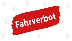 Niemiec podkreślający znak: Napędowy zakaz - Wektorowa ilustracja royalty ilustracja