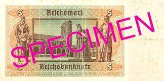5 1942 niemiec reichsmark banknotu odwrotność obraz stock