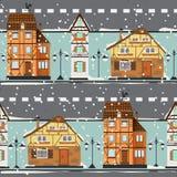 Niemieccy budynki pod śniegiem Obrazy Royalty Free