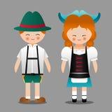 Niemiecka chłopiec i dziewczyna z krajowego kostiumowego charakteru wektorowym projektem Obrazy Stock
