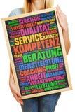 Niemiecka etykietki chmura o ilości i usługa Zdjęcia Stock