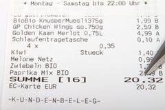 Niemiecki Bill czek Zdjęcia Stock
