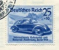 Niemiecki dziejowy znaczek: poj?cie samochodowy wolkswagen ?Mi?dzynarodowy samoch?d i motorowy przedstawienie w Berlin IAA 1939 ? fotografia stock