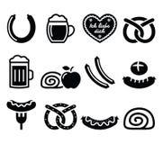 Niemiecki jedzenie - kiełbasa, curry'ego wurst, piwo, precel, jabłczany strudel royalty ilustracja