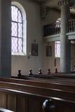Niemiecki kościół katolicki z religijnymi szczegółami wokoło ołtarza i a zdjęcia royalty free