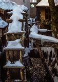 Niemiecki Nieociosany Młyński koło Zakrywający w lodzie i śniegu Zdjęcia Royalty Free
