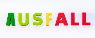 Niemiecki słowo dla «niepowodzenia «jako symbol niepowodzenie lekcje przez oszczędzań w edukacji polisie zdjęcia stock