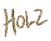 Niemiecki słowo Holz wypełniający z drewnianym kawałkiem Obraz Stock