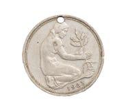 50 niemieckiej oceny fenigu moneta odizolowywająca na białym tle Fotografia Stock