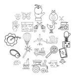 Niemowlęctwo ikony ustawiać, konturu styl royalty ilustracja