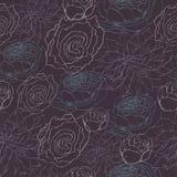 Niemy zmroku wzór z kreślić peoniami i różami Ilustracja Wektor