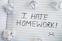 Nienawidzę pracę domową Obraz Stock