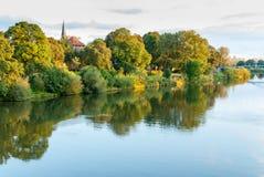 Nienburg på floden Weser Royaltyfria Foton