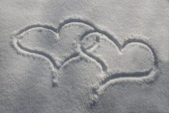 Śnieżni serca Obraz Royalty Free
