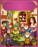 Śnieżny biel kasztele ilustracja dla dzieci - książe lub princess - rycerze i czarodziejki - Zdjęcia Royalty Free