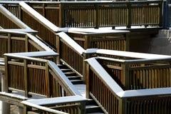 Śnieżny i drewniany most Fotografia Royalty Free