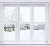 Śnieżny sceny okno Obrazy Royalty Free