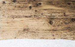 Nieociosana Drewniana tekstura, tło Z kopii przestrzenią, śnieg obraz stock