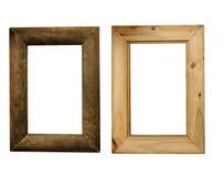 Nieociosana drewno rama, przód i plecy, Obrazy Stock