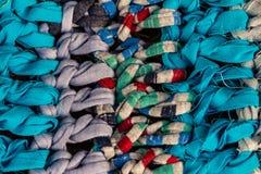 Nieociosana kolorowa tkanina robić rzemieślnikami Handmade dywanik handmade zdjęcie royalty free