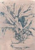 Nieociosana kwiecista ilustracja i akwareli sztuka Zdjęcia Stock
