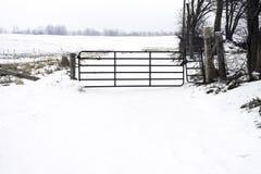 Nieociosana metal brama, ogrodzenie i blokowaliśmy wejściem szeroki sno Fotografia Royalty Free