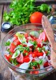 Nieociosana sałatka pomidory, ogórki, biała cebula, czerwony pieprz, pietruszka, kraszonego oliveovym ocet, nafciany i balsamic obrazy stock