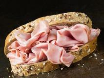 Nieociosana włoska mortadella kanapka Fotografia Stock