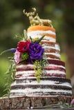 Nieociosanego ` Nagiego ` Ślubny tort Zdjęcia Royalty Free