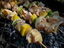 Nieociosani kurczaków kebabs fotografia stock