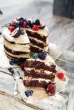 Nieociosany czekoladowy tort obraz stock