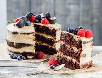Nieociosany czekoladowy tort obrazy royalty free