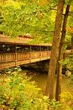 Nieociosany drewno Zakrywający most Podczas jesieni fotografia royalty free