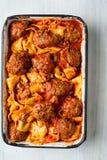 Nieociosany włoski klopsika pappardelle makaron zdjęcie royalty free