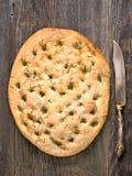 Nieociosany włoski rozmarynowy zielarski foccacia chleb Obraz Royalty Free