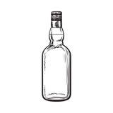 Nieotwarta, unlabeled pełna whisky butelka, ilustracji