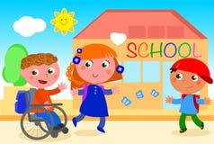 Niepełnosprawna chłopiec iść szkoła z przyjaciółmi Fotografia Stock