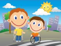 Niepełnosprawne dzieci krzyżuje drogę Obraz Stock