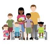 Niepełnosprawne dzieci z przyjaciółmi i nauczycielem Zdjęcia Royalty Free