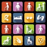 Niepełnosprawne ikony Ustawiający mieszkanie Obraz Stock