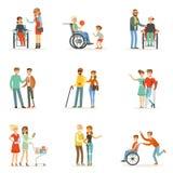 Niepełnosprawni i przyjaciele pomaga one ustawiać dla etykietka projekta Kreskówek szczegółowe kolorowe ilustracje ilustracja wektor