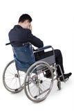 Niepełnosprawny biznesmen patrzeje nieszczęśliwym Obrazy Royalty Free