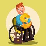 Niepełnosprawny mężczyzna charakter na wózku inwalidzkim ściska złotego dolara Zdjęcia Royalty Free