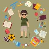 Niepełnosprawny niewidomy uczeń z trzciną i szkolnymi dostawami Fotografia Royalty Free