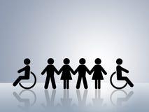 niepełnosprawny równy równości sposobności wózek inwalidzki Zdjęcie Royalty Free