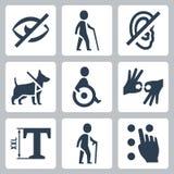 Niepełnosprawne releated wektorowe ikony Zdjęcie Stock