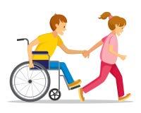 Niepełnosprawni i przyjaciel Zdjęcie Royalty Free
